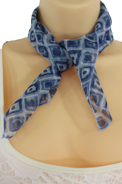 Green Blue Small Neck Scarf Fabric Geometric Square Print Pocket Square New Women Fashion - alwaystyle4you - 4