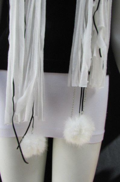 New Women Fashion Soft White Fabric Scarf Mini Faux Fur Balls Black Chains - alwaystyle4you - 10