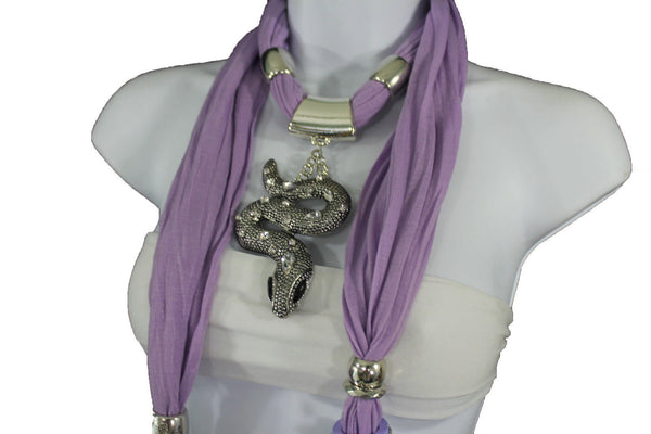 Women Lavender Fashion Scarf Fabric Silver Metal Snake Pendant Necklace Lilac - alwaystyle4you - 4