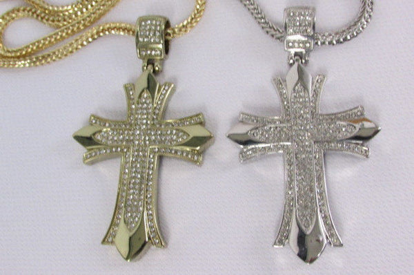 "Silver / Gold Metal Chain 35"" Long Fashion Necklace  Large Cross Pendant New Men - alwaystyle4you - 11"