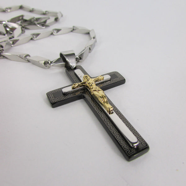 Black Silver Or Gold Cross Pendant New Men Silver Stainless Steel Jesus Christ Metal Chain Necklace - alwaystyle4you - 5