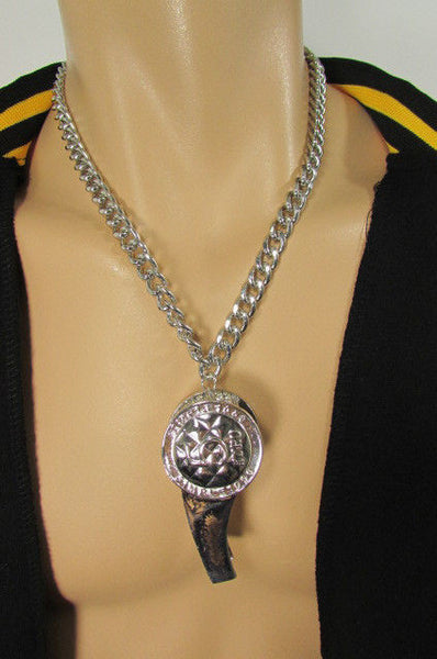 Silver Gold Metal Chains Necklace / Large Whistle Rhinestones Pendant New Men Women Fashion - alwaystyle4you - 13