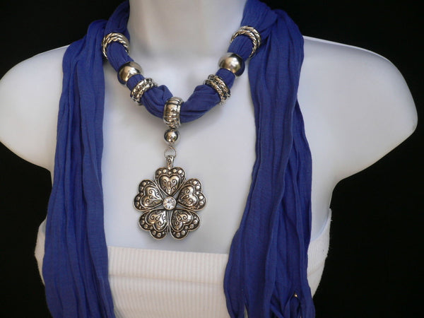 Blue Light Blue Black Dark Brown Light Pink Coral White Soft Scarf Necklace Heart Flower Silver Pendant New Women Fashion 6 Different Colors - alwaystyle4you - 16