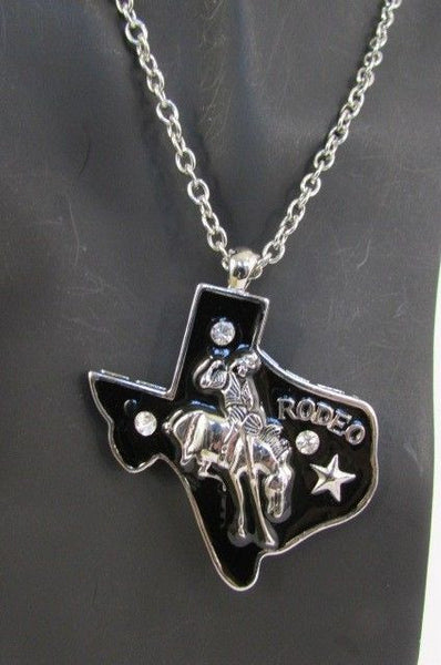 Long Silver Chains Big Black Texas Rodeo Horse Pendant Necklace + Earrings Set New Women - alwaystyle4you - 9