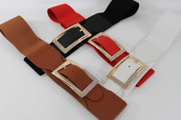 Black / Red / White / Brown Faux Leather Tie Hip Waist Belt Square Gold Rhinestones Buckle New Women Fashion Accessories M L - alwaystyle4you - 9