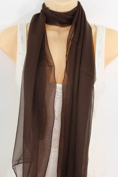 Dark Brown Dark Green Dark Blue Brown Neck Scarf Long Soft Sheer Fabric Tie Wrap Classic New Women Fashion - alwaystyle4you - 3