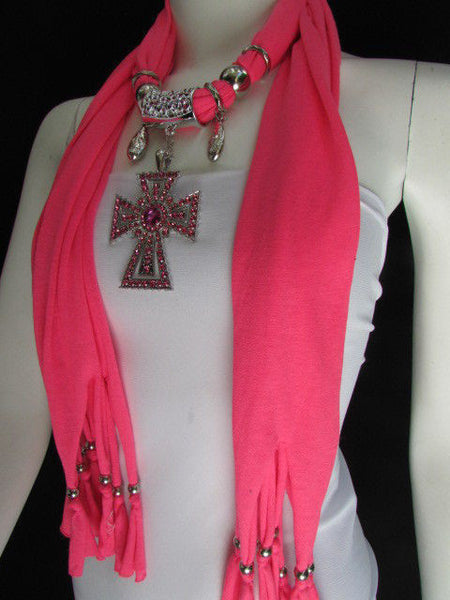 New Women Soft Fabric Dark Brown / Pink Scarf Necklace Western Rhinestones Cross Pendant - alwaystyle4you - 4