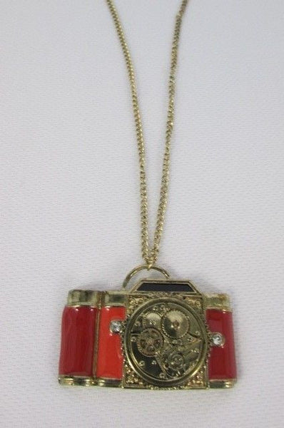 Old Fashion Collector Camera Red Orange Long Rusty Gold New Women Necklace - alwaystyle4you - 9