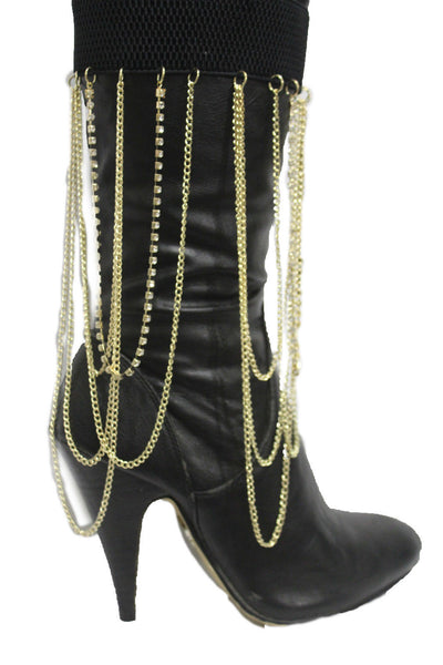 Gold Metal Boot Bracelet Chain Long Drop Bling Anklet Elastic Band New Women Western Hot Accessories - alwaystyle4you - 4