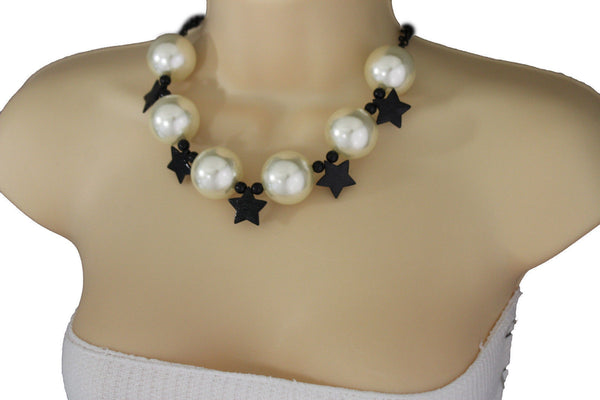 Black / Silver / Gold / Red / White Metal Stars Ball Beads Short Ivory Necklace + Earring Set New Women Fashion Jewelry - alwaystyle4you - 8