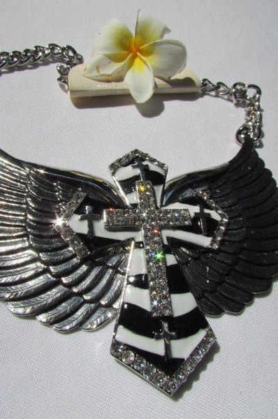 Big Bow Zebra Angel Wings Pendant Black Cross Stripes Rhinestones New Women - alwaystyle4you - 6