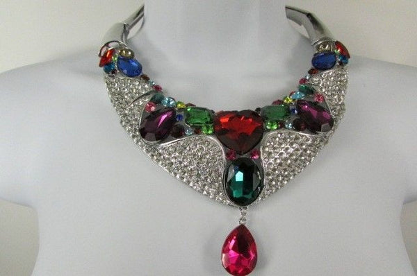 Silver Metal Multicolor Alloy Charm Bib Necklace New Women Fashion Jewelry - alwaystyle4you - 6
