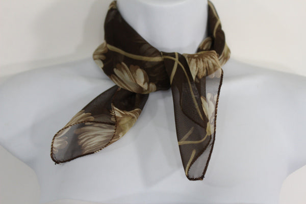 Dark Green Brown Small Neck Soft Scarf Fabric White Flower Pocket Square New Women Fashion - alwaystyle4you - 4