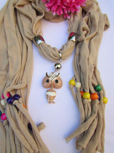 Black, Blue, Beige, Gray, White Soft Scarf Long Necklace Multicolors Wood Beads Owl Pendant New Women Fashion Accessory - alwaystyle4you - 41