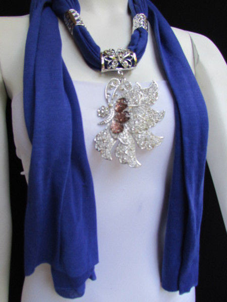Pink Blue Black Brown Bright Coral Soft Fabric Scarf Long Necklace Big Silver Butterfly Pendant New Women Fashion - alwaystyle4you - 42