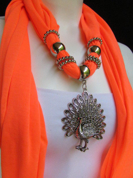 New Women Necklace Fashion Mocha Brown / Blue / Orange / Red / Green / Black Fabric Scarf Long Big Silver Peacock Pendant - alwaystyle4you - 45