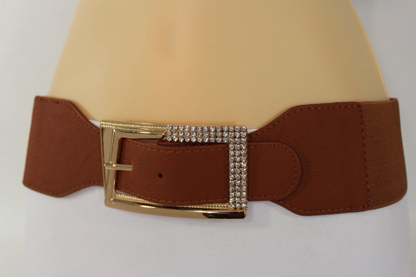 Black / Red / White / Brown Faux Leather Tie Hip Waist Belt Square Gold Rhinestones Buckle New Women Fashion Accessories M L - alwaystyle4you - 40