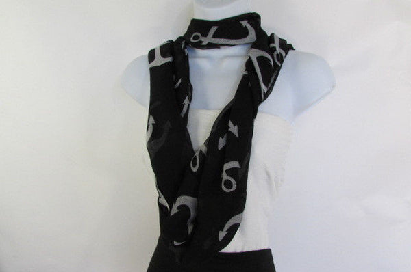 Green Aqua Pink Black White New Women Fashion Fabric Infinity Loop Scarf Big Anchor - alwaystyle4you - 46