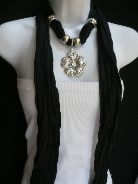 Blue Light Blue Black Dark Brown Light Pink Coral White Soft Scarf Necklace Heart Flower Silver Pendant New Women Fashion 6 Different Colors - alwaystyle4you - 54