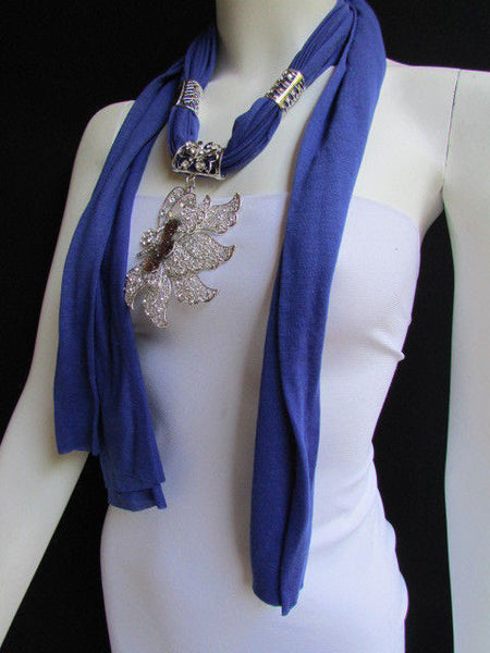 Pink Blue Black Brown Bright Coral Soft Fabric Scarf Long Necklace Big Silver Butterfly Pendant New Women Fashion - alwaystyle4you - 43
