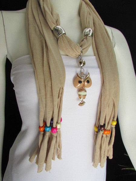 Black, Blue, Beige, Gray, White Soft Scarf Long Necklace Multicolors Wood Beads Owl Pendant New Women Fashion Accessory - alwaystyle4you - 43