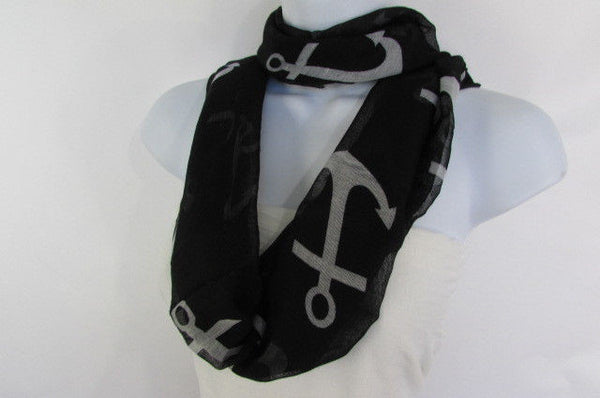Green Aqua Pink Black White New Women Fashion Fabric Infinity Loop Scarf Big Anchor - alwaystyle4you - 47