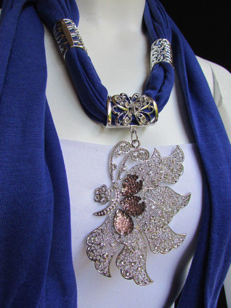 Pink Blue Black Brown Bright Coral Soft Fabric Scarf Long Necklace Big Silver Butterfly Pendant New Women Fashion - alwaystyle4you - 44