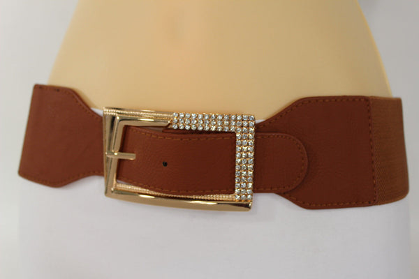 Black / Red / White / Brown Faux Leather Tie Hip Waist Belt Square Gold Rhinestones Buckle New Women Fashion Accessories M L - alwaystyle4you - 42
