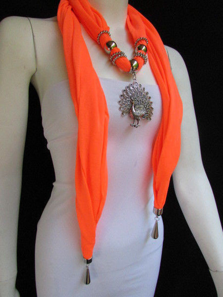 New Women Necklace Fashion Mocha Brown / Blue / Orange / Red / Green / Black Fabric Scarf Long Big Silver Peacock Pendant - alwaystyle4you - 48