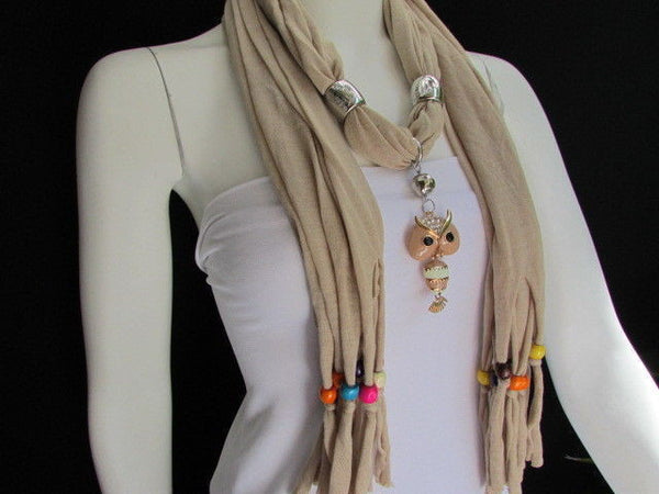 Black, Blue, Beige, Gray, White Soft Scarf Long Necklace Multicolors Wood Beads Owl Pendant New Women Fashion Accessory - alwaystyle4you - 44