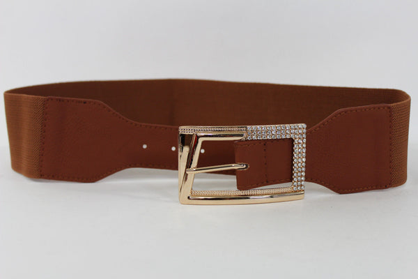 Black / Red / White / Brown Faux Leather Tie Hip Waist Belt Square Gold Rhinestones Buckle New Women Fashion Accessories M L - alwaystyle4you - 43