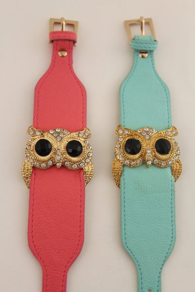 Aqua Blue / Pink / Light Pink / Black Faux Leather Strap Nude Bracelet Gold Metal Owl Head Black Rhinestone Fashion New Women Jewelry Accessories - alwaystyle4you - 2