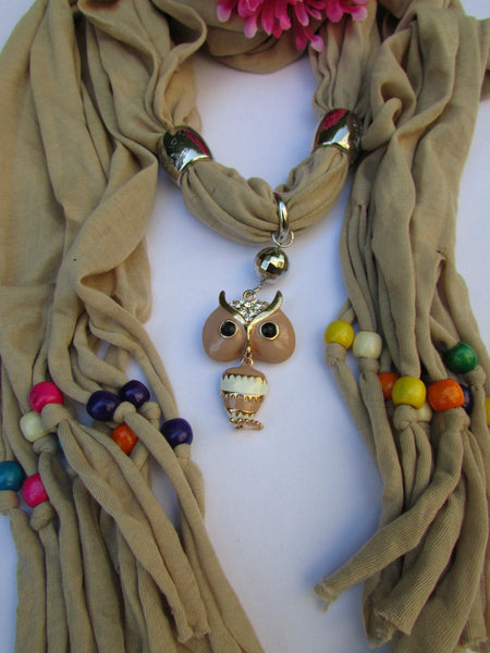 Black, Blue, Beige, Gray, White Soft Scarf Long Necklace Multicolors Wood Beads Owl Pendant New Women Fashion Accessory - alwaystyle4you - 45