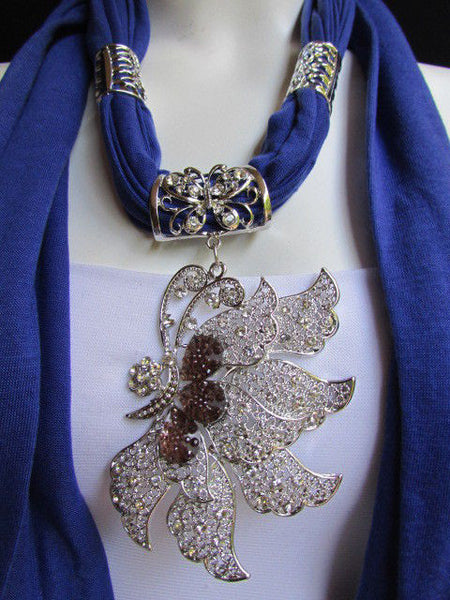 Pink Blue Black Brown Bright Coral Soft Fabric Scarf Long Necklace Big Silver Butterfly Pendant New Women Fashion - alwaystyle4you - 2