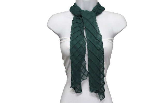 Blue Purple Green Red White Brown New Women Fashion Long Neck Scarf Soft Fabric Tie Wrap Geometric Mosaic Plaid - alwaystyle4you - 68