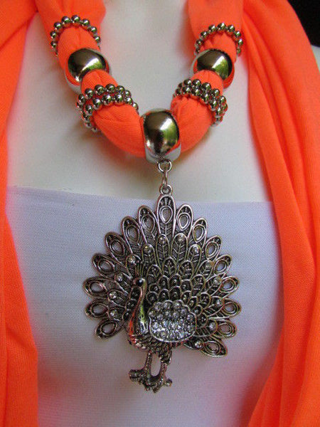 New Women Necklace Fashion Mocha Brown / Blue / Orange / Red / Green / Black Fabric Scarf Long Big Silver Peacock Pendant - alwaystyle4you - 49