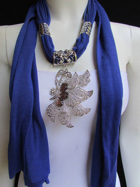 Pink Blue Black Brown Bright Coral Soft Fabric Scarf Long Necklace Big Silver Butterfly Pendant New Women Fashion - alwaystyle4you - 46