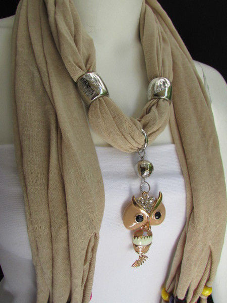 Black, Blue, Beige, Gray, White Soft Scarf Long Necklace Multicolors Wood Beads Owl Pendant New Women Fashion Accessory - alwaystyle4you - 46