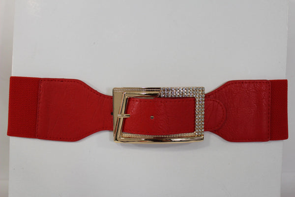 Black / Red / White / Brown Faux Leather Tie Hip Waist Belt Square Gold Rhinestones Buckle New Women Fashion Accessories M L - alwaystyle4you - 45