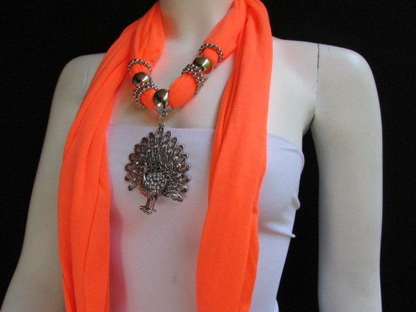 New Women Necklace Fashion Mocha Brown / Blue / Orange / Red / Green / Black Fabric Scarf Long Big Silver Peacock Pendant - alwaystyle4you - 51