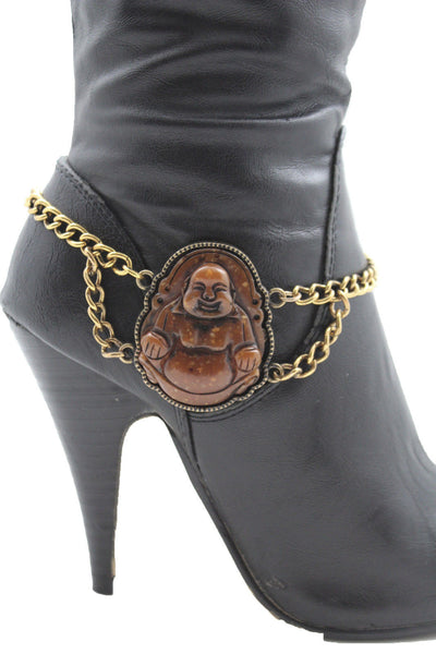 Gold Metal Boot Chain Bracelet Fat Buddha India Anklet Bohemian Shoe Charm New Women - alwaystyle4you - 4