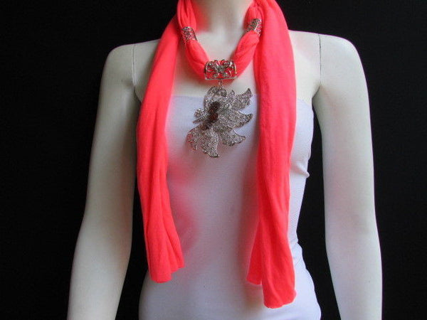 Pink Blue Black Brown Bright Coral Soft Fabric Scarf Long Necklace Big Silver Butterfly Pendant New Women Fashion - alwaystyle4you - 48
