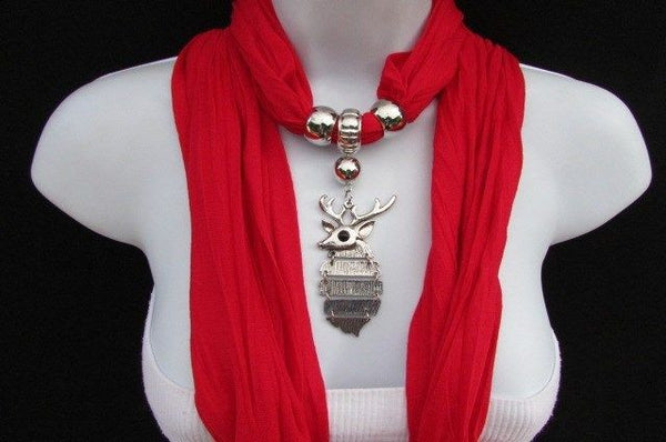 Green  / Red / White / Blue / Beige / Pink / Mustard Long Soft Scarf Necklace Silver Metal Deer Head Pendant For Christmas New Women Fashion - alwaystyle4you - 1