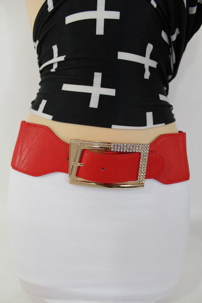 Black / Red / White / Brown Faux Leather Tie Hip Waist Belt Square Gold Rhinestones Buckle New Women Fashion Accessories M L - alwaystyle4you - 47