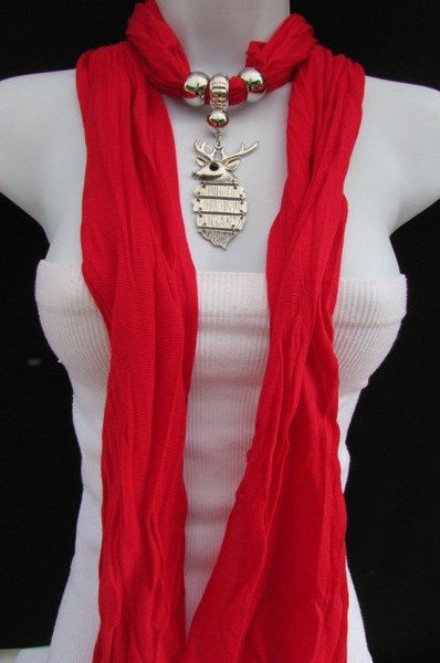 Green  / Red / White / Blue / Beige / Pink / Mustard Long Soft Scarf Necklace Silver Metal Deer Head Pendant For Christmas New Women Fashion - alwaystyle4you - 2