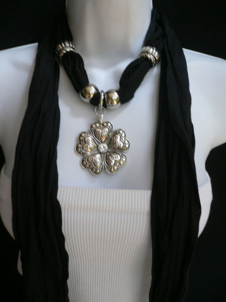 Blue Light Blue Black Dark Brown Light Pink Coral White Soft Scarf Necklace Heart Flower Silver Pendant New Women Fashion 6 Different Colors - alwaystyle4you - 61