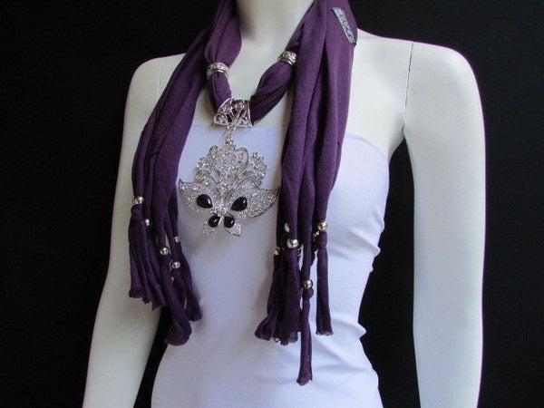 Black Blue Purple Pink Brown Dark Gray Red Bright Coral Green Soft Fabric Scarf Necklace Silver Flowers Butterfly Pendant New Fashion Accessory - alwaystyle4you - 49