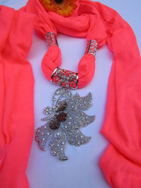 Pink Blue Black Brown Bright Coral Soft Fabric Scarf Long Necklace Big Silver Butterfly Pendant New Women Fashion - alwaystyle4you - 49