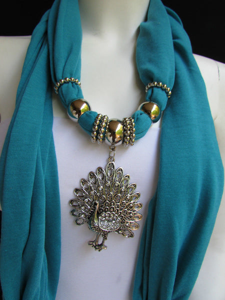 New Women Necklace Fashion Mocha Brown / Blue / Orange / Red / Green / Black Fabric Scarf Long Big Silver Peacock Pendant - alwaystyle4you - 53