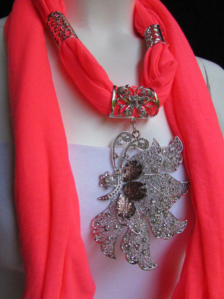 Pink Blue Black Brown Bright Coral Soft Fabric Scarf Long Necklace Big Silver Butterfly Pendant New Women Fashion - alwaystyle4you - 50